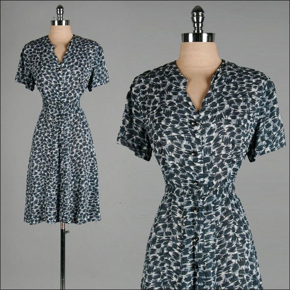 Vintage 1940s Dress . Black . Grey . Rhinestone Buttons . L/XL/XXL . 2170