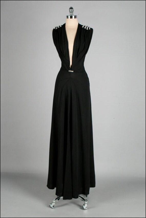Vintage 1930s Dress Black Plunging Neckline Rhinestones