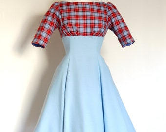 Preppy Dress- Pale Blue and Red Checked High Waisted Tea Dress