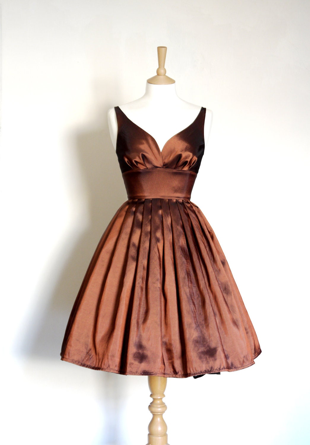 Copper taffeta sweetheart prom dress with full pleated skirt zoom ombrellifo Images