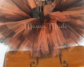Black and Orange Tutu and matching hair accessory sizes newborn 3 mo 6 mo 12 mo 18 mo 24 mo 2t 3t 4t 5 6 8 10 12 14