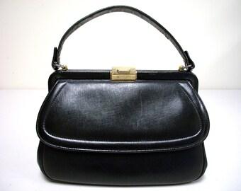 Vintage ETRA Black Handbag with Top Handle