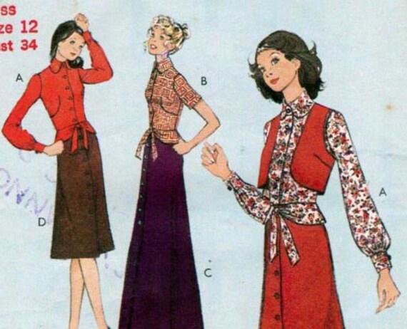 70s Vintage Sewing Pattern Style 3306 Blouse Skirt & Bolero Size 12 Bust 34