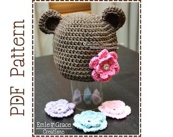 Crochet Bear Hat Pattern, Flower Ear Beanie, EMIE and THEODORE BEAR - pdf 123