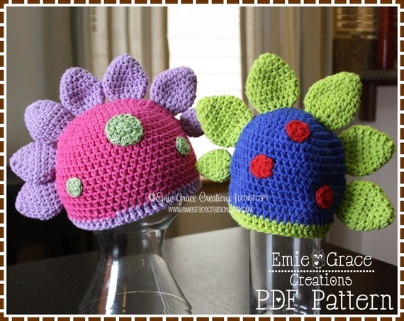 Free Crochet Pattern For Dinosaur Beanie : Crochet Dinosaur Hat Pattern Scale Beanie DANNY and DINA