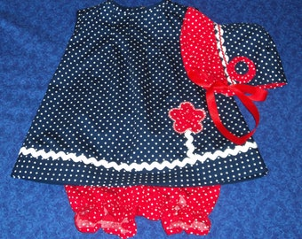 Toddler Baby Dress Bloomers and Bonnet Set in Red White and Blue Polka Dots