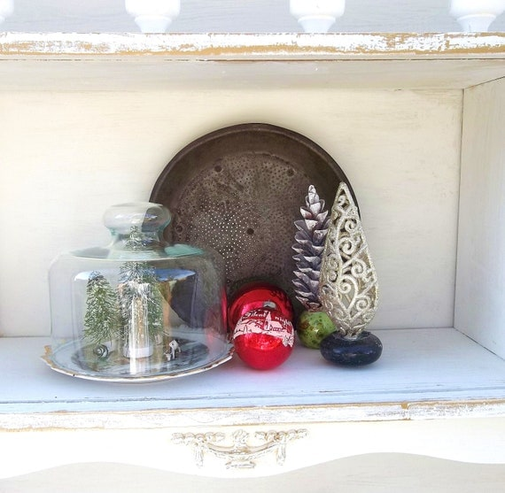 Vintage Glass cloche. Glass display dome. Currier and Ives Collectible Plate. WInter Scene. Farmhouse  Rustic Collectible.