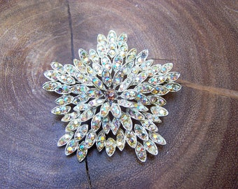 Snowflake Brooch with Golden Rhinestones Signed