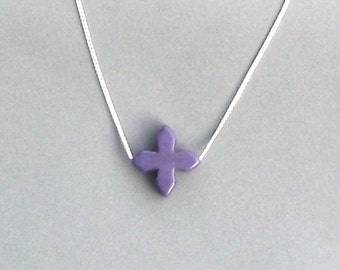 Purple Howlite Cross Necklace