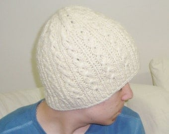 Wool Mens Hat Men's Winter Hat in Cream Hand Knitted Men Hat, Mens Gifts for Him