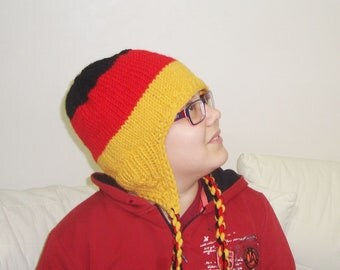German Dad Fathers Day Gift, German Mom Mothers Day Gift, Knit Germany Flag Hat with Ear Flap Hat in Black Red Yellow Hand Knit Hat