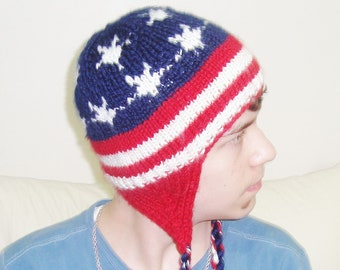 Knit American Flag Hat with earflap hand knitted US flag hat Fourth of July gift