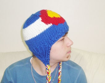 Colorado Flag Hat - Hand Knit - Teen/Women size  - WINTER SALE