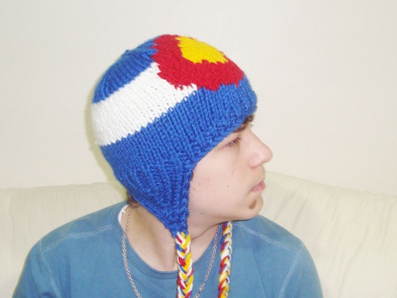 Colorado Flag Hat - Hand Knit - Teen/Women size  - WINTER SALE