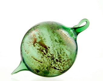 Hand Blown Glass Christmas Ornament, Green with Silver and Gold