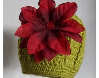 Kiwi Hat with Red Silk Flower