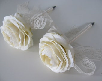 Guest Book Pens Set of 2 Jute, Twine or Ribbon Wrapped You customize Colors and Flowers Ivory Ranunculus and Lace Shown