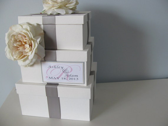 Wedding Card Box Modern 3 tiered with slate gray ribbon ivory roses personalized tag You Can Customize Colors and Flowers