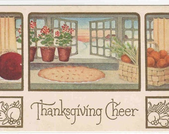 Thanksgiving Cheer  Pie greeting 1910c postcard