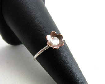Sterling Silver Copper Dainty Flower Ring Mixed Metal Stacking Ring