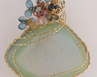 Aqua blue drusy brooch with topaz and sapphire bouquet