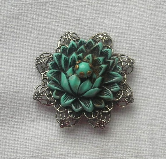 Vintage Imitation Turquoise Brooch Pin lotus Flower Filigree Jewelry