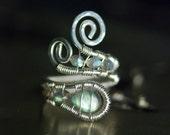 "Labradorite Ring, Nickel Free, Argentium Silver Ring - AA Blue Green Fire Labradorite, Iridescent, Blue Flame - ""Luna"" Moss & Mist Jewelry"