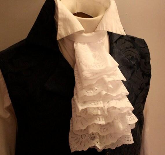 Fancy White Jabot Lace Ascot Cravat Necktie Tie