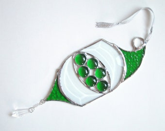 Green Stained Glass Christmas Sun Catcher  Geometric Handmade SALE