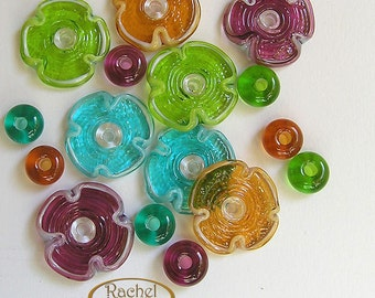 Rainbow Spring Flower Lampwork Beads, FREE SHIPPING, A Set of Handmade Glass Disc Beads - Rachelcartglass