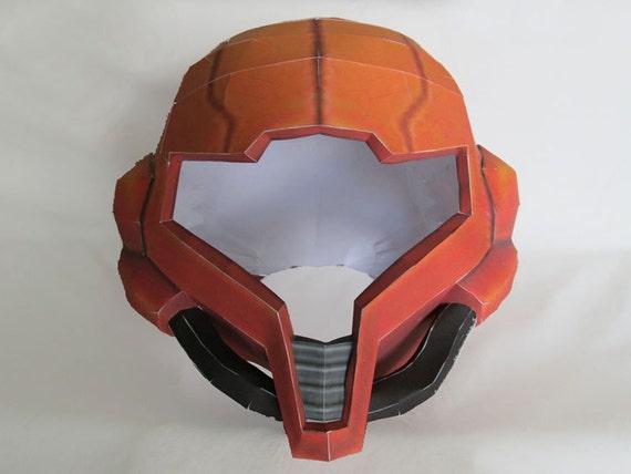 Metroid Papercraft Pattern - Full Size Samus Aran Helmet - Cosplay