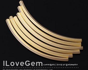NP-1360 Matt Gold plated, Curve Tube, Square, 2X50mm, 4pcs