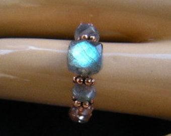 Labradorite Copper Ring -  Stretchy Comfortable!