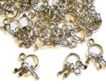 10 Jail Key Charms Vintage Style
