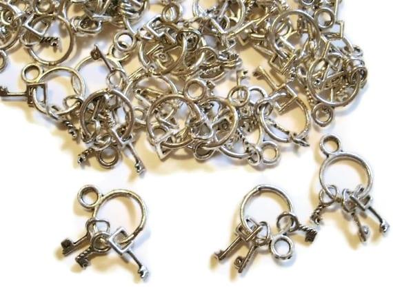 10 Jail Key Charms Vintage Style