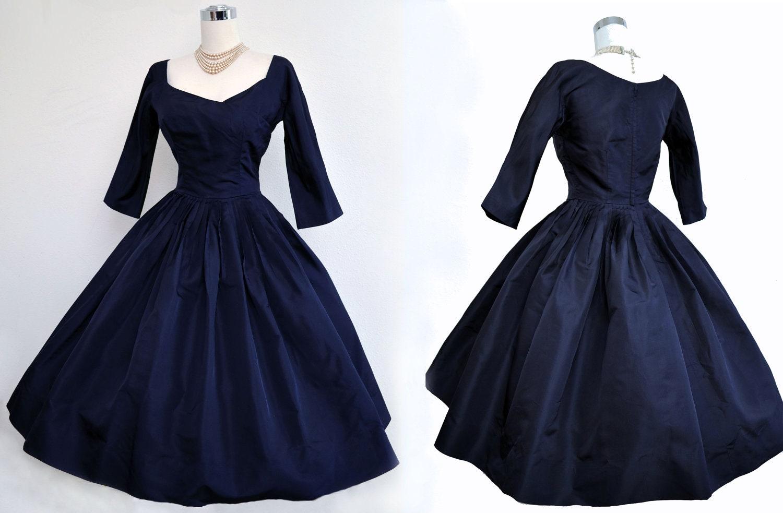 Vintage 50s Dress 1950s Dress Navy Blue Silk Full Skirt