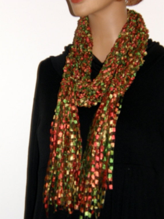 Crochet Scarf Patterns Ribbon Yarn : Fall leave fancy ribbon scarf orange red green color Confetti