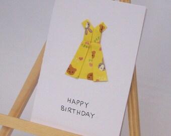 Origami Card - Party Dress - Happy Birthday C6 Size