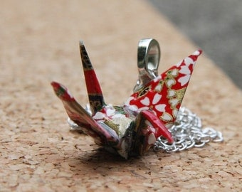 Origami Crane Pendant Large - Red with Green and White Flowers