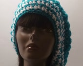 Sparkle Collection Turquoise and White Womens  Slouchy Glitter Beanie  Gift under 50 dollars