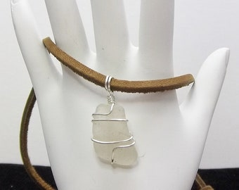 Small Frosted White Sea Glass Necklace, Wire Wrapped, Leather Cord, Beach Glass, Lake Erie, Men's Necklace, Women's Necklace