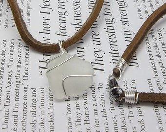White Sea Glass Necklace, Wire Wrapped, Leather Cord, Beach Glass, Lake Erie, Men's Necklace, Women's Necklace, Beach Necklace