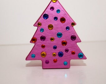 Pink Christmas Tree Decorative Paper Mache Gift Box