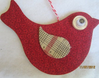 Red Fabric Bird Hanging- Birdie Ornament-Mixed Media Decoration Ornament- Christmas Ornament-Bird Tag
