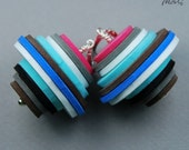 Sterling silver dangle earrings made of colorful FOAM SLICES 01 in single copy - IkatiJewellery