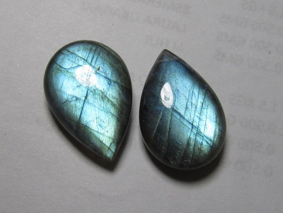 AAAA - Perfect Matching Pair Amazing Gorgeous Blue Fire - LABRADORITE - Smooth Polished Pear Briolett Huge Size 15.5x22 mm - 2pcs