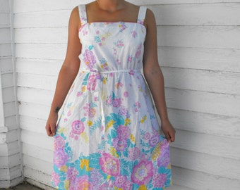 Summer Dress Sun White Floral Print Smocked Vintage Flexible Free Size S M L