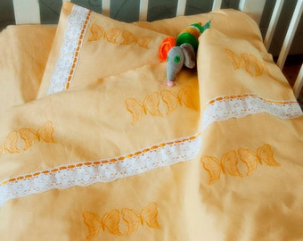 Bedding for baby, Linen home decor, Baby Bed Linen, Baby bedding set, Nursery Bedding Set, HANDMADE, Yellow, Embroidered with Lace and Bands