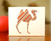 Hump Day! Striped Camel Blank Card on 100% Recycled Paper