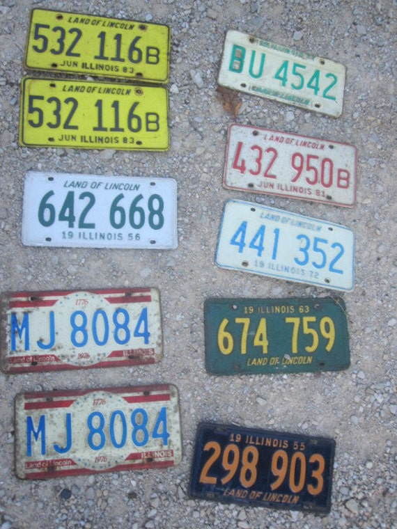 Stack of Vintage License Plates
